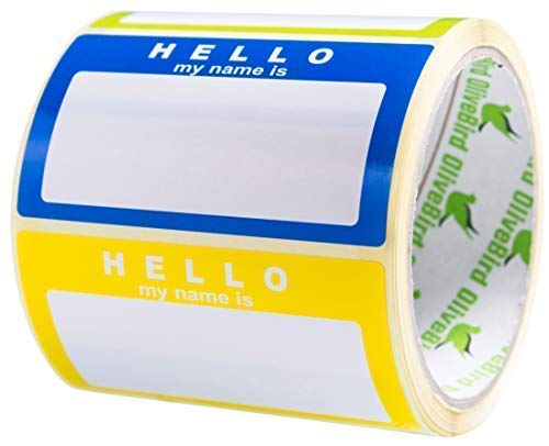 Name Tag Labels Hello My Name is Stickers Assorted Colours (3 Colors) School Office Stickers,Size 3.5 x 2 Inches, 1 Roll/250 Stickers