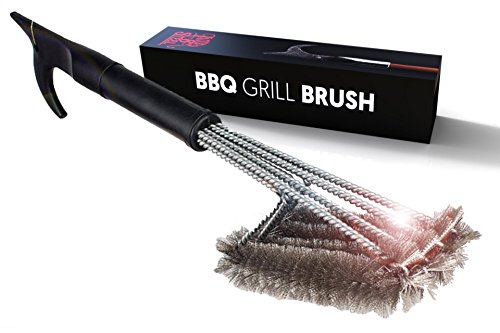 Best BBQ Grill Brush 4-in-1 Head Design   18' Grill Cleaner - Safe Tool   Steel Bristles, Won't Scratch Grate   Perfect BBQ Tools Gift for Men, Barbeque Grill Accessory   Fireman Designed