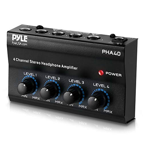 """4-Channel Portable Stereo Headphone Amplifier - Professional Multi Channel Mini Earphone Splitter Amp w/ 4 ¼"""" Balanced TRS Headphones Output Jack and 1/4' TRS Audio Input For Sound Mixer - Pyle PHA40"""