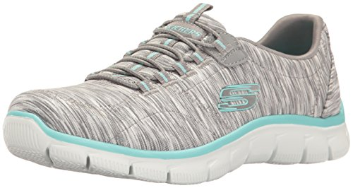 Skechers Women's Sport Empire - Rock Around Relaxed Fit Fashion Sneaker, Gray/Light Blue, 10 B(M) US
