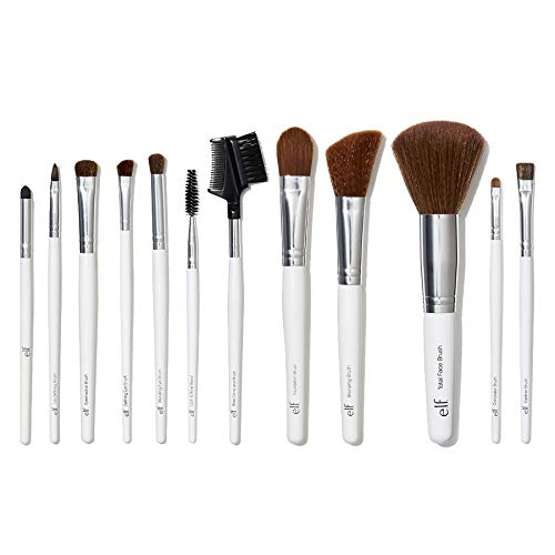 e.l.f., Professional Set Of 12 Brushes, Soft, Synthetic, Durable, Versatile, Dense, Flawless Finish, Blends, Highlights, Contours, Shades, Sculpts, Defines, Includes Brushes To Meet All Your Needs,