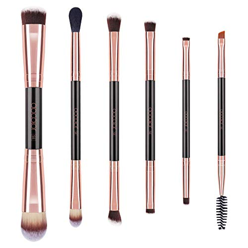 Double Sided Makeup Brushes,Docolor 6Pieces Double Ended Makeup Brushes Set Professional Foundation Eyeshadow Travel Make Up Brushes Kits