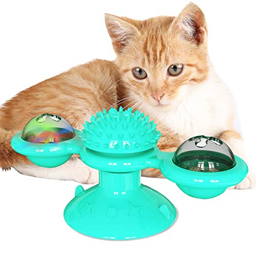 Cdipesp Windmill Cat Toy, Interactive Cat Toys Kitten Turntable Massage Toy (Blue)