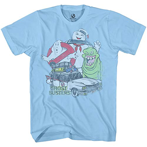 Ghostbusters Mens Ecto1 Slimer Shirt Stay Puft Logo Tee Shirt Graphic T-Shirt (Light Blue, XXX-Large)