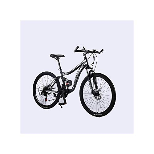 Mens/Womens Bikes,26in MTB Carbon Steel Mountain Bike 21 Speed Bicycle Full Suspension Lightweight Complete Bicycle Cruiser Bike (Black)
