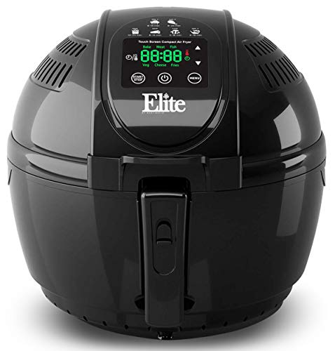 Maxi-Matic Electric Digital Hot Air Fryer Oil-less Cooker, 6 in 1 Cooking Functions, Adjustable Time + Temperature, PFOA/PTFE Free, 1400-Watts with 26 Recipe Cookbook, Black 3.5 Quart