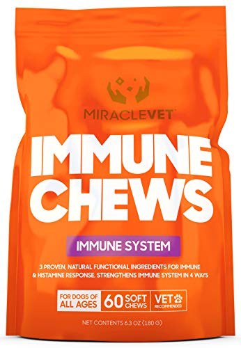 Miracle Vet Allergy Immune Supplement Snacks for Dogs - with Colostrum & Probiotics for Improved Gut & Immune Health. Fast Acting for Anti Itch, Skin Hot Spots, Seasonal Allergies.