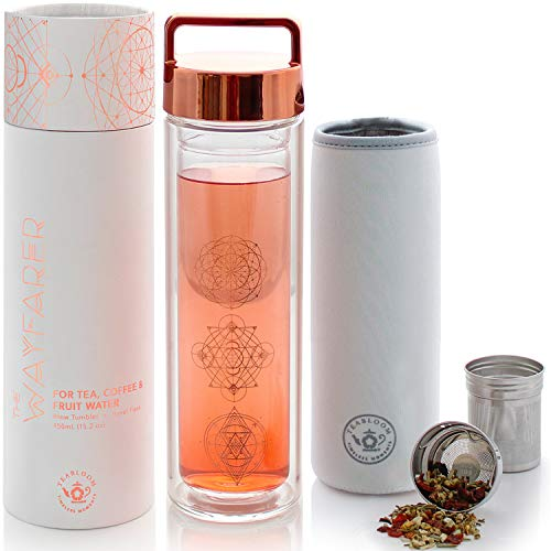 Teabloom All-Purpose Beverage Tumbler – 15 oz / 450 ml Insulated Glass Bottle – Tea, Coffee, Fruit Infused Water – All-Temperature Travel Mug – Stainless Steel Infuser Basket – The Wayfarer Tumbler