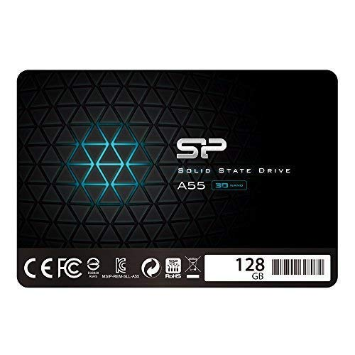 Silicon Power 128GB SSD 3D NAND A55 SLC Cache Performance Boost SATA III 2.5' 7mm (0.28') Internal Solid State Drive (SU128GBSS3A55S25AC)