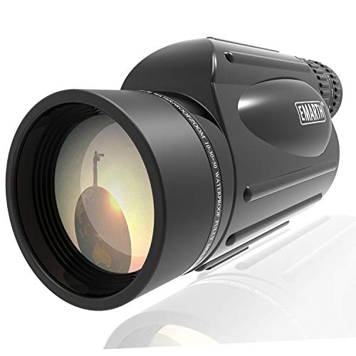 Emarth High Power 10-30X50 Zoom Monocular Telescope BAK4 Prism Waterproof Fog Proof Men Gifts for Bird Watching Camping Hunting Wildlife Traveling