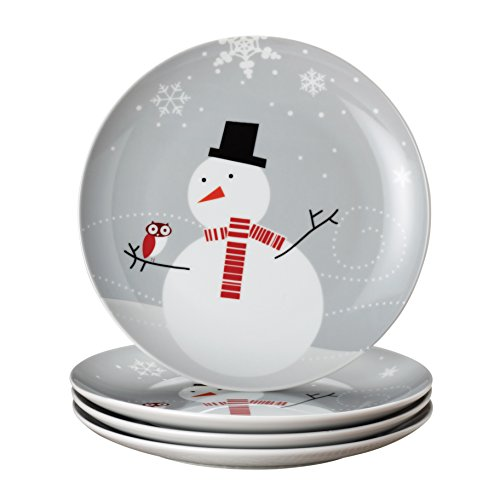 Rachael Ray Dinnerware Little Hoot and the Snowman 4-Piece Dessert Plate Gift Set