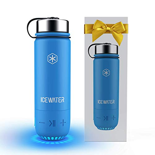 ICEWATER 3-in-1 Smart Insulated Water Bottle(Glows to Remind You to Stay Hydrated)+Bluetooth Speaker+ Dancing Lights,20 oz,Stay Hydrated and Enjoy Music,Great Gift (Blue))