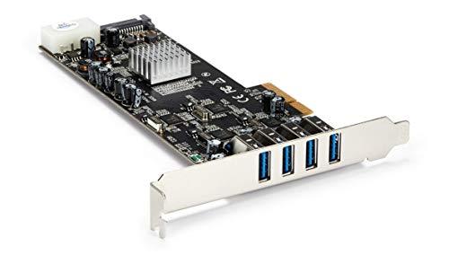 StarTech.com 4 Port USB 3.0 PCIe Card w/ 4 Dedicated 5Gbps Channels (USB 3.1 Gen 1) - UASP - SATA / LP4 Power - PCI Express Adapter Card (PEXUSB3S44V)