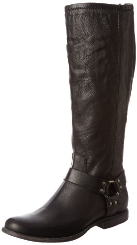 FRYE Women's Phillip Harness Tall Boot: , Black Soft Vintage Leather extended calf, 7.5 M US