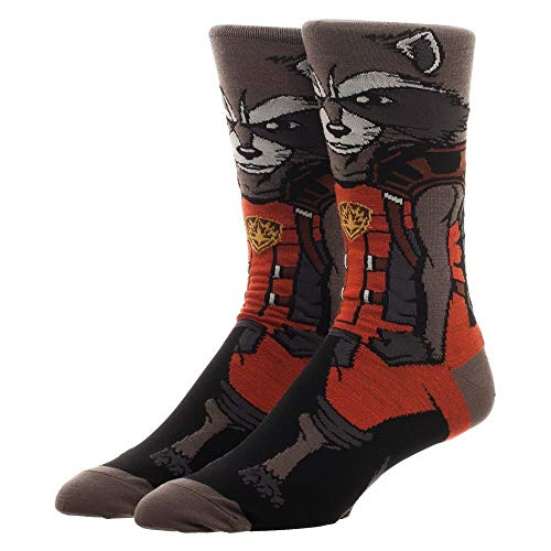 Guardians Of The Galaxy Rocket Character Collection One Pair Of Crew Socks