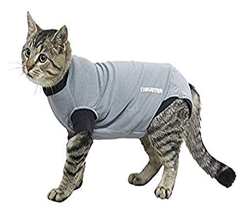 Kruuse Buster Body Suit for Cats, Grey/Black, 16'/Size X-Small
