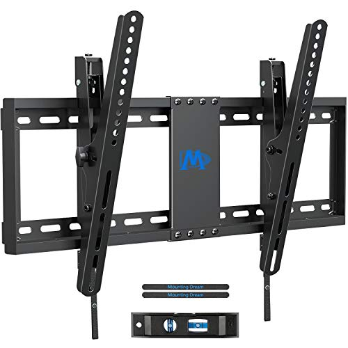 Mounting Dream TV Wall Mounts, TV Mount Low Profile for Most 37-70 inch TVs, Tilting TV Wall Mount with Max VESA 600x400mm, Fits 16', 18', 24' Studs and 132lbs, Easily Adjust Level after Installation