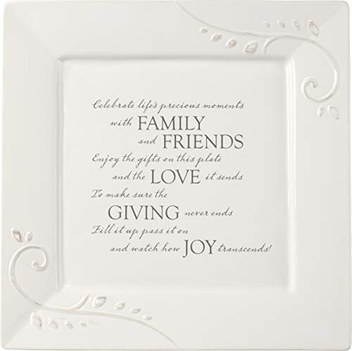 Precious Moments Giving Plate Ceramic Serving Platter, 10in x 10in, White