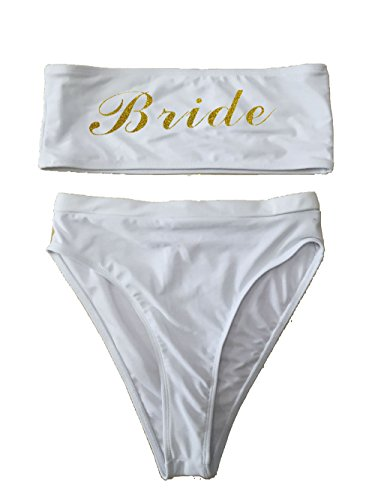 Team Bride One Piece Swimsuit Women Swimwear High Cut Bathing Suit Sexy Bodysuit Monokini Beach Wear Wedding Party (Bikini White, Medium)