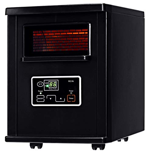 COSTWAY Infrared Quartz Heater, 1500W Portable Space Heater with Digital Thermostat, Remote Control, overheated Protection, Electric Heater with Wheels for Bedroom, Home& Office, Black