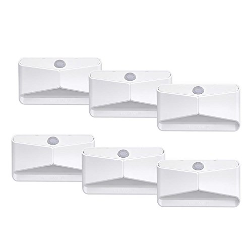 Mr. Beams MB710 LED Nightlight, Wireless, Battery-Powered, Motion-Sensing For Use In Bedroom, Stairs, Nursery, Kitchen & More, Six-Pack, White
