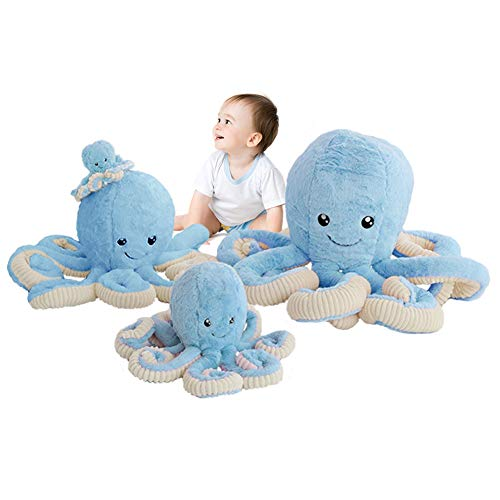 DENTRUN OctopusStuffedAnimals, Octopus Plush Doll Play Toys for KidsGirls Boys Adults Birthday Xmas GiftPresent 7/16/24/32Inches, 5 Colors (7 inches, Blue)