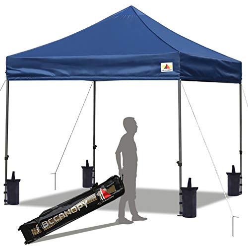 ABCCANOPY Pop up Canopy Tent Commercial Instant Shelter with Wheeled Carry Bag, Bonus 4 Canopy Sand Bags, 10x10 FT(Navy Blue)