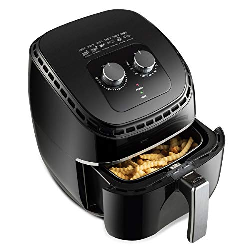 Costzon Air Fryer, 3.5Qt 1300W Electric Stainless Oil-less Oven Cooker, Smart Time & Temperature Control, Non Stick Fry Square Basket, Auto Shut Off (Black)
