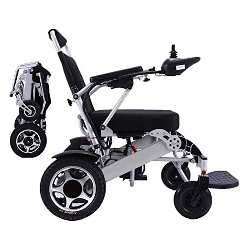 EBEI Electric Wheelchair Foldable Lightweight Deluxe Power Compact Mobility Aid Aviation Travel Safe Electric Wheelchair Heavy Duty Power Wheelchair (17' Seat)