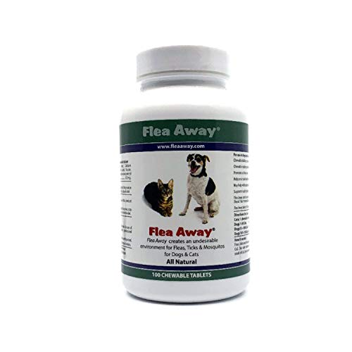 Flea Away All Natural Flea, Tick, and Mosquito Repellent for Dogs and Cats, 100 Chewable Tablets, Single