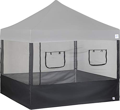 E-Z UP Food Booth Sidewall Kit, Set of 4, Fits 10' x 10' Straight Leg Canopy, includes 2 Roll-Up Serving Windows, Commercial Grade Mesh, Black