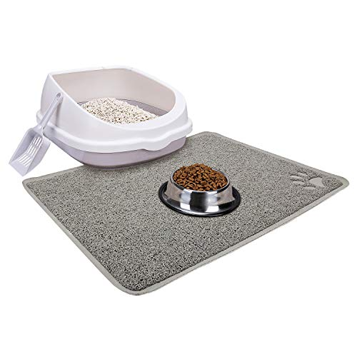 Cat Open Top Litter Box with Lid, Cat Litter Mat, Poop Lifter Scoop & Kitten Kitty Stainless Steel Feeding Dish Bowl, Cat Starter Kit 4 Pack for Small cat Within 5 Months