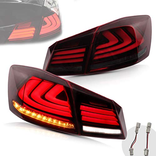 VLAND Full LED Tail Lights for [Honda Accord 8th Gen Sedan 2013 2014 2015] with Amber Sequential Turn Signal, YAB-YG-0250-H, Red & Smoked [Don't fit a Honda accord lx / Sport sedan / Touring]