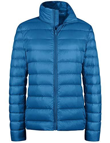 Wantdo Women's Puffy Jacket Packable Ultra Light Weight Down Jacket Acid Blue S
