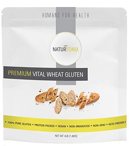 Naturtonix Vital Wheat Gluten, 4 LB Resealable Fresh Pouch, 100% Pure Gluten Non GMO Vegan and Keto Friendly, High in Protein