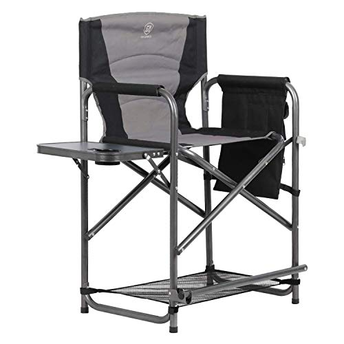 EVER ADVANCED Medium Tall Directors Chair Foldable Makeup Artist Chair Bar Height with Side Table Cup Holder and Storage Bag Footrest, Supports 300LBS (Grey, Seat Height: 23.2 inches)