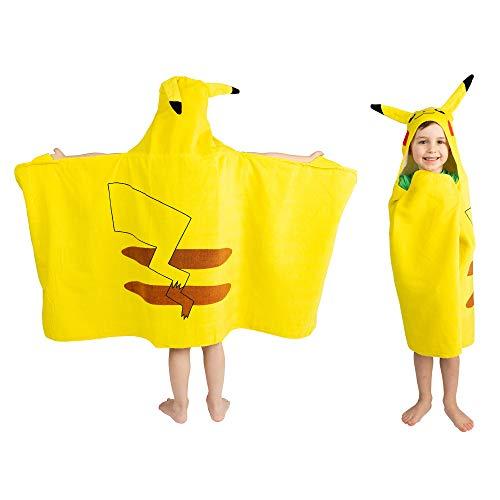 Franco Kids Bath and Beach Soft Cotton Terry Hooded Towel Wrap, 24' x 50', Pokemon Pikachu