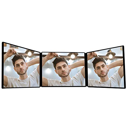 Belvadore 3 Way Mirror   Steel Hooks   Trifold 360° Barber Mirror for Self Hair Styling & Cutting   DIY Haircut Tool to Self Cut & Trim at Home   Height Adjustable Portable Hands-Free System (Black)