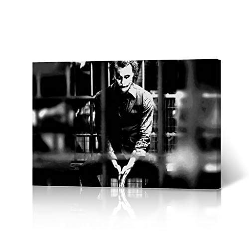 HB Art Design Heath Ledger The Joker in Jail Black and White Wall Art Canvas Wall Art Decorative Modern Home Decor Poster Living Room Dorm Decor- Ready to Hang - Made in The USA - 8x12