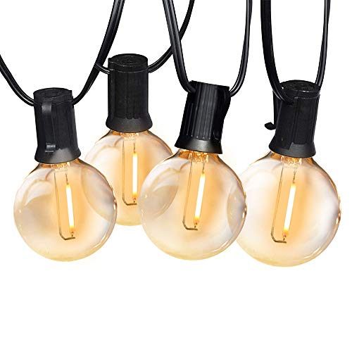 SUNTHIN 97ft Globe Outdoor String Lights G40 LED String of Lights 2700K 48Pcs Sockets 49 Pcs Clear Bulbs 2ft Spacing Patio Lights UL ETL Listed Waterproof for Indoor Outdoor