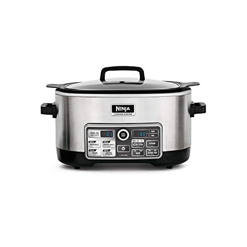 Ninja Auto-iQ Multi/Slow Cooker with 80-Pre-Programmed Auto-iQ Recipes for Searing, Slow Cooking, Baking and Steaming with 6-Quart Nonstick Pot (CS960) (Renewed)