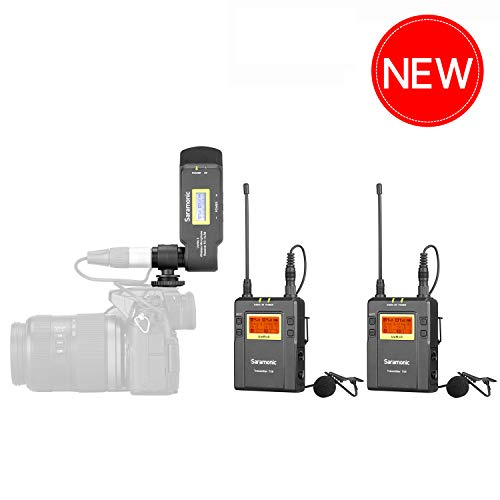 Camera Wireless Lavalier Microphone with XLR Battery Grip for Video TV, Saramonic UwMic9 Wireless Lavalier Microphone 2 Transmitter & XLR Receiver for DSLR Camcorder for Field Recording Interview ENG