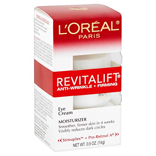 L'Oreal Paris Skincare Revitalift Anti-Wrinkle and Firming Eye Cream with Pro Retinol, Treatment to Reduce Dark Circles, Fragrance Free, 0.5 oz.