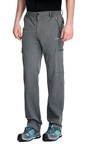 Clothin Men's Elastic-Waist Travel Pant Stretchy Lightweight Cargo Pant Quick Dry Breathable(Grey L-32)