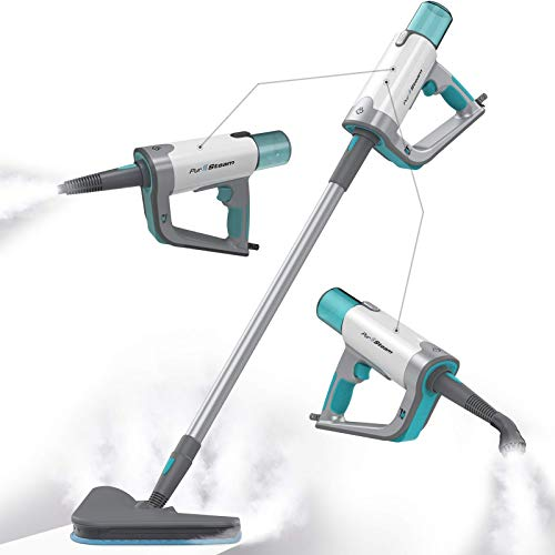 PurSteam Steam Mop Cleaner 12 in 1 for Hardwood/Tiles/Vinyl - Easy-Detachable Handheld Steam Cleaner for Kitchen - Garment - Furniture and Clothes, Multifunctional Whole House Steamer
