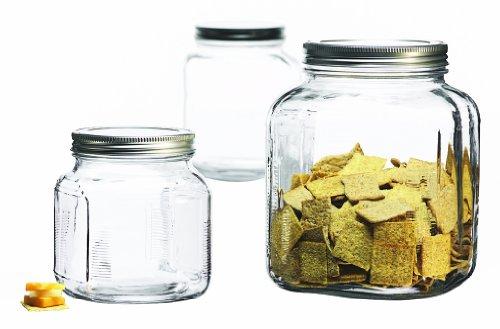 Anchor Hocking 3-Piece Glass Cracker Jar Canister Set