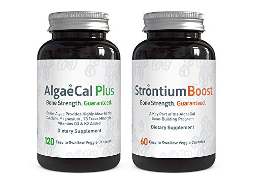 AlgaeCal Bone Builder Pack – Plant-Based Calcium Supplement with Magnesium, Boron, Vitamin K2 + D3 | Includes Strontium Boost | Naturally Increase Bone Density (1 Month Supply)