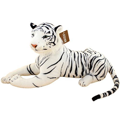 JESONN Realistic Stuffed Animals Tiger Toys Plush (White, 23.6 Inch)