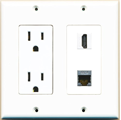 RiteAV - 15 Amp Power Outlet and 1 Port HDMI and 1 Port Shielded Cat6 Ethernet Decorative Type Wall Plate White