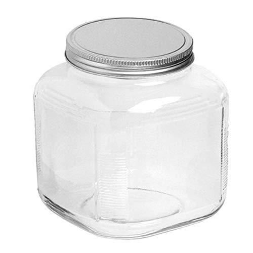 Anchor Hocking 1-Gallon Cracker Jar with Lid, Brushed Aluminum, Set of 4